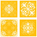 Floral tile patterns a series of intricate square designs Stock Photo