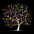 Floral tree colorful on black for your design