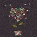 Floral tree, heart shape in pot for your design. Royalty Free Stock Photo