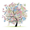 Floral tree in pastel colors, spring Stock Photo