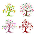 Floral tree set Royalty Free Stock Photography