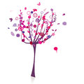Floral tree silhouette Stock Photography
