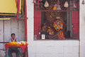 Floral tributes for sale at a Hindu shrine