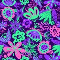 Neon floral seamless background Royalty Free Stock Photo
