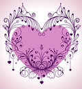 Floral Valentine background with heart Stock Photo