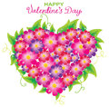 Floral Valentine background with heart shape Royalty Free Stock Images