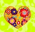 Floral Valentine heart shape Stock Image