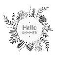 Floral vector black and white bouquet Royalty Free Stock Photo