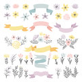 Floral vector decorative elements. Flowers, ribbons and plants for wedding invitation design Royalty Free Stock Photo