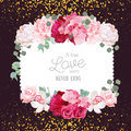 Floral vector design square card with golden glitter dark background