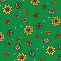 Floral vector pattern: multicolored flowers with many petals on a green background. Main colors: yellow, orange, blue. Royalty Free Stock Photo