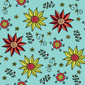 Floral vector seamless pattern bright flowers plants blue background Royalty Free Stock Photos