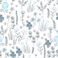 Floral vector seamless pattern with wild herbs, forest flowers and leaves. Vintage botanical background. Hand drawn