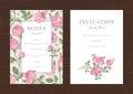 Floral vector vertical vintage invitation.
