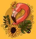 Floral vectorial drawing with a flamingo neck with flowers. Exotic bird with palm monstera leaves and yellow sunflowers Royalty Free Stock Photo