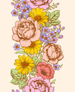 Floral vertical seamless pattern.