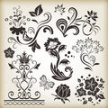 Floral vintage design elements vector on beige background set Royalty Free Stock Images