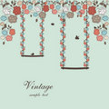 Floral vintage design with swings and birds Royalty Free Stock Photo