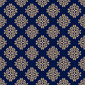 Floral vintage ornaments. Blue and golden seamless patterns for fabric and wallpaper