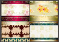 Floral wallpaper set with seamless elements Royalty Free Stock Photo