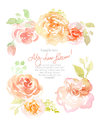 Floral watercolor background with beautiful flowers