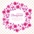 Floral watercolor wreath with pink flowers Royalty Free Stock Photo