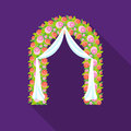 Floral wedding arch icon in flat style isolated on white background. Event service symbol stock vector illustration.