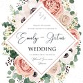 Floral Wedding Invitation elegant invite card vector design. Garden flower pink, lavender Rose, white wax dusty blush Anemone, Royalty Free Stock Photo