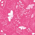 Floral white butterflies Background Pattern