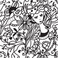Floral woman seamless pattern - fashion concept Royalty Free Stock Images