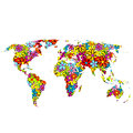 Floral world map Stock Photography