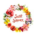 Floral wreath with bird, butterflies, meadow flowers, grass, butterflies. Watercolor round border with positive quote