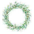 Floral wreath.Garland with Lily of the valley and eucalyptus branches. Royalty Free Stock Photo