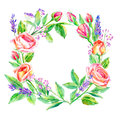 Floral wreath.Garland of a roses branches and lavender.