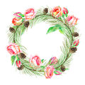Floral wreath.Garland of a roses, pine branches and bump.