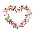 Floral wreath - heart shape. Pink flowers, feathers, keys. Watercolor for Valentine day, wedding Royalty Free Stock Photo
