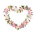 Floral wreath - heart shape. Pink flowers and feathers. Watercolor for Valentine day, wedding in vintage boho style
