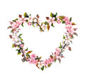 Floral wreath - heart shape. Pink sakura flowers, keys. Watercolor for Valentine day, wedding Royalty Free Stock Photo