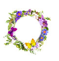 Floral wreath - meadow flowers, wild grass, spring butterflies. Watercolor