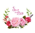 Floral wreath - peony, roses flowers. Save date card for wedding. Watercolor
