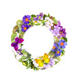 Floral wreath - summer flowers, wild herb, spring butterflies. Watercolor Royalty Free Stock Photo