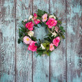 Floral wreath on vintage green background Royalty Free Stock Photo
