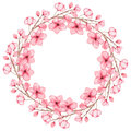 Floral Wreath With Watercolor Light Pink Flowers