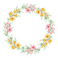 Floral Wreath With Watercolor Yellow And Pink Flowers