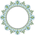 Floral wreath in zentangle style. Circle frame made of geometric elements and leaves.
