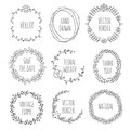 Floral wreaths collection. Vector vintage illustration. Royalty Free Stock Photo