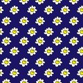 Floral yellow seamless chamomile drawing. vector illustration. White daisies seamless pattern on a dark blue background. Royalty Free Stock Photo