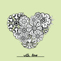 Floral Zentangle Heart Object ...