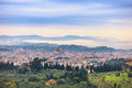 Florence aerial foggy morning cityscape panorama view from fiesole hill italy or firenze palazzo vecchio and duomo cathedral Stock Image