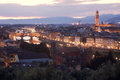 Florence aerial view of italy at dusk Royalty Free Stock Photography